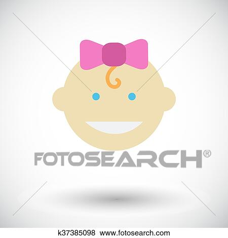 clip art of baby girl flat icon k37385098 search clipart