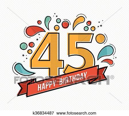 Buntes Alles Gute Geburtstag Zahl 45 Flache Zeile