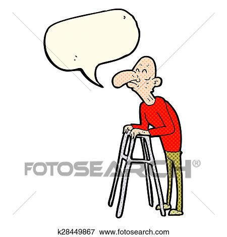 Stock Illustration of cartoon old man with walking frame with speech ...