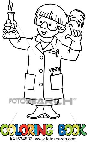 Coloring book of funny chemist or scientist Clipart ...
