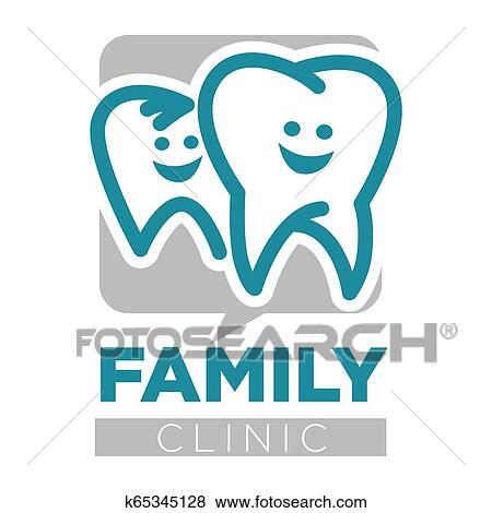 Family clinic dentist services teeth isolated icon Clip Art