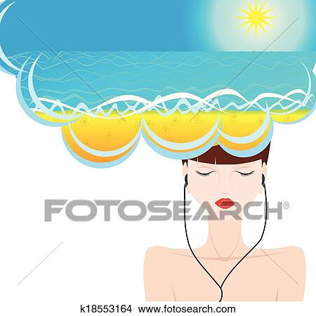 Clipart Of Girl Sea Dream Vacation Music K18553164