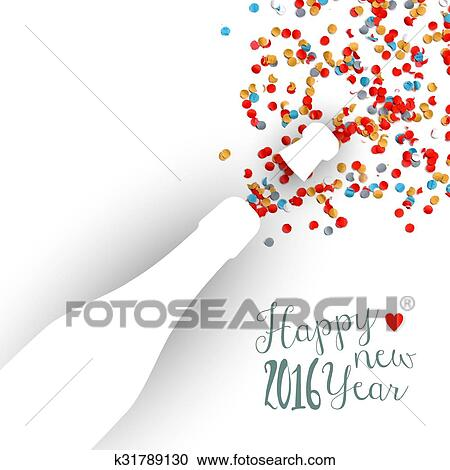 clipart happy new year 2016 confetti celebration champagne fotosearch search clip art