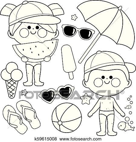 Kindern Mit Badeanzüge Und Hats Sandstrand Summer Und Urlaub Design Elements Schwarz Weiß Ausmalbilder Seite Clip Art
