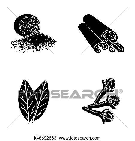Muscade Cannelle Feuilles Baie Cloves Herbs Et épices Ensemble Collection Icônes Dans Noir Style Raster Symbole Illustration Courante