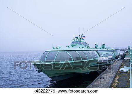Passenger Hydrofoil Boat On The Docks Of Onego Lake In Foggy Weather Petrozavodsk Karelia Russia Stock Photography K43222775 Fotosearch