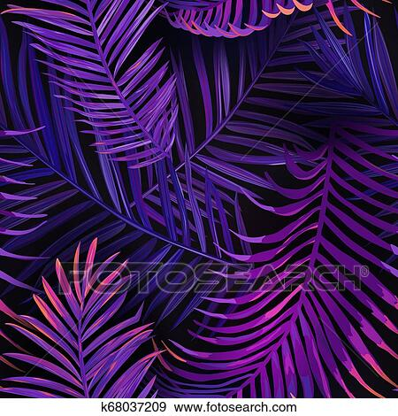 Tropical Neon Palm Leaves Seamless Pattern Jungle Purple Colored Floral Background Summer Exotic Botanical Foliage Fluorescent Design With Tropic Plants For Fabric Textile Vector Illustration Clip Art K68037209 Fotosearch 78 likes · 21 talking about this. tropical neon palm leaves seamless