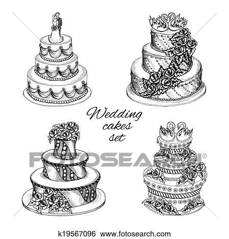 Clip Art Of Wedding Cakes Set K19567096 Search Clipart
