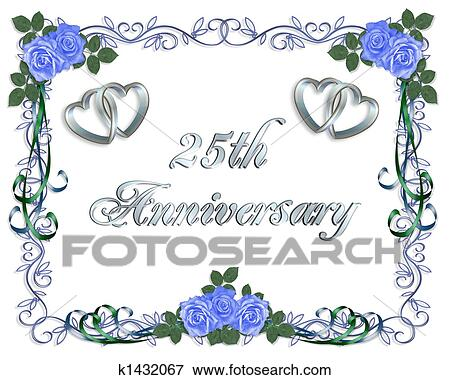 Stock Ilration 25th Wedding Anniversary Border Fotosearch Search Eps Clipart Drawings