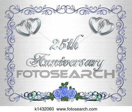 Image And Ilration Composition Silver Hearts With Blue Roses For 25th Wedding Anniversary Card Or Party Invitation Background Frame Border