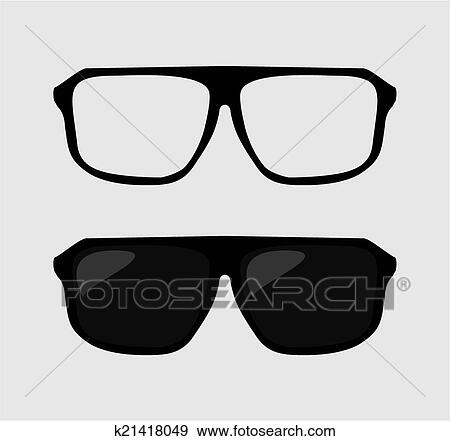 e4b5ecd1ce3 Black vector hipster sunglasses and nerd glasses on grey background