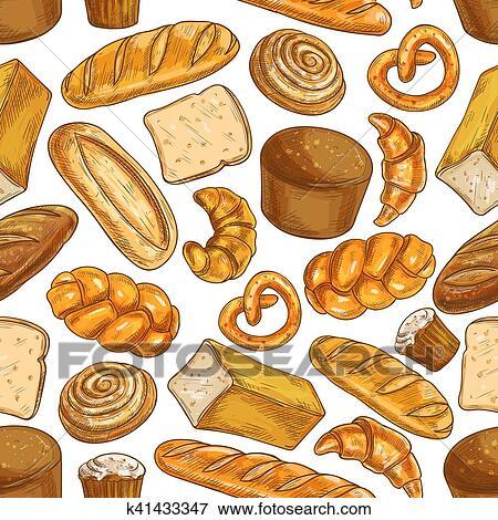 Bread Pattern دكان بيع الخبز Seamless رسم الإيقونات Clip Art K41433347 Fotosearch