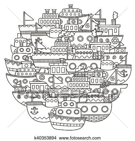 Clipart - círculo, forma, patrón, con, lindo, garabato, barcos, para ...