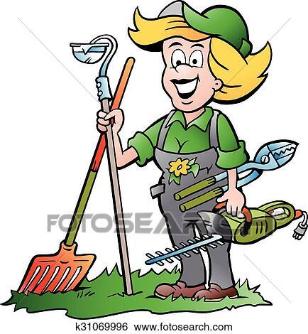 clip art of gardener woman with garden tools k31069996 search rh fotosearch com gardening clipart gardener clip art free