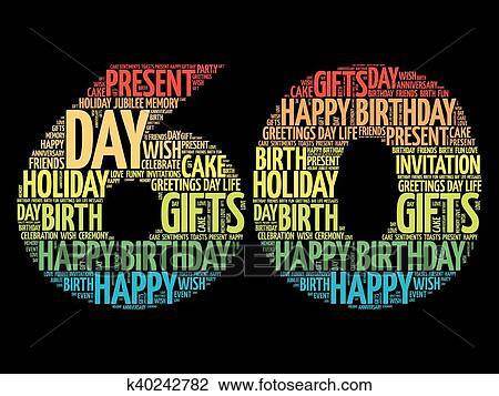 Happy 60th birthday word cloud Clipart | k40242782 ... (450 x 357 Pixel)