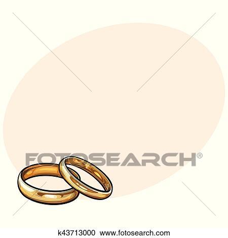 Clipart Paar Von Traditionelle Goldene Hochzeit Ringe Fur