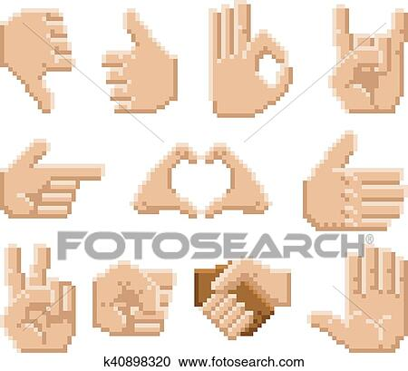 Pixel Art Hand Icons Clipart K40898320 Fotosearch