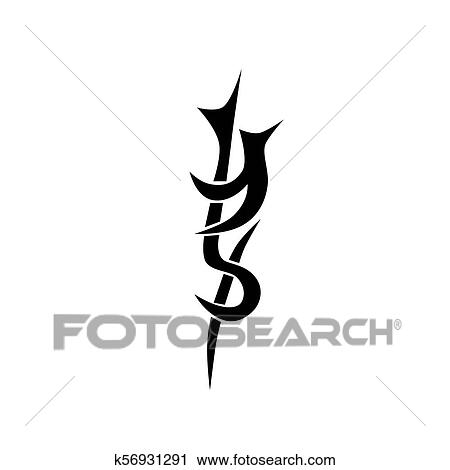 b9f1ee0cf Clipart - Tribal tattoo vector designs sketch. Simple abstract black logo  ornament on white background