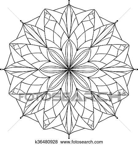 Clip Art - vector, antistress, libro colorear, con, geométrico ...