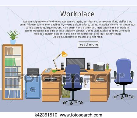 Clipart of Web design banner of office room workplace k42361510 ...
