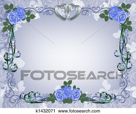 Clipart   Wedding Invitation Border Blue Rose. Fotosearch   Search Clip  Art, Illustration Murals