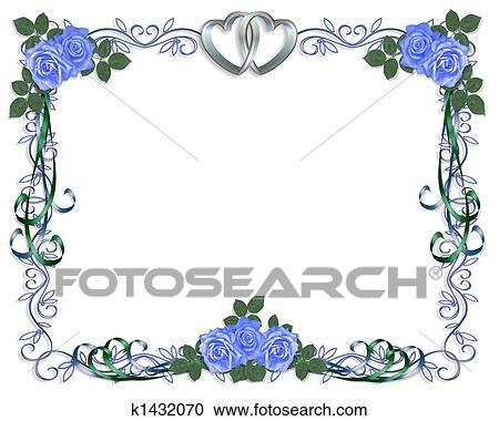 Stock Illustrations Of Wedding Invitation Border Blue Rose K1432070