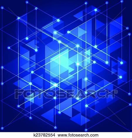 clipart of abstract blue technology geometric background vector