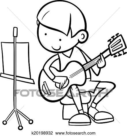Black And White Cartoon Illustration Of Cute Boy Playing On The Guitar For Coloring Book