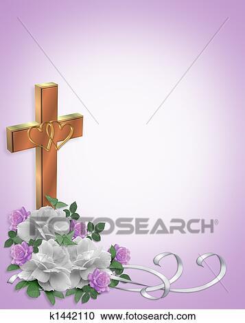 Stock Illustrationen Christliche Hochzeitskarten Kreuz K1442110