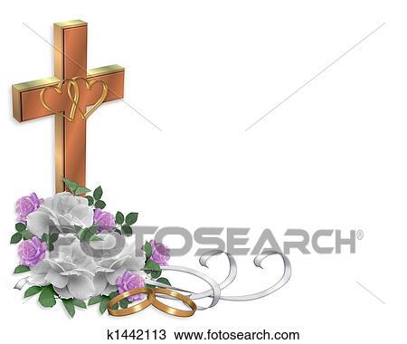 Zeichnung Christliche Hochzeitskarten Kreuz K1442113 Suche
