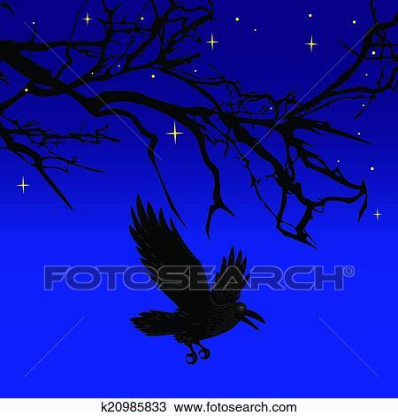 Clipart of Dark crow b...