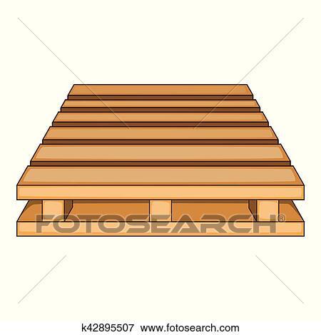 Clip art de madera paleta icono caricatura estilo - Murales de madera ...