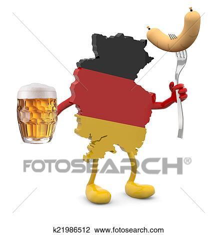 Clip Art Germania Mappa Con Braccia Gambe E Boccale Vetro