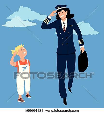 Pilot Girl Vector Cartoon Illustration Stock Vector (Royalty Free) 510159607
