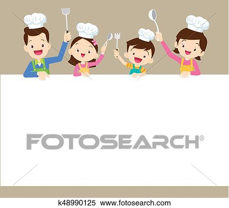 Clipart Of Happy Family Cooking With Space Frame K48990125