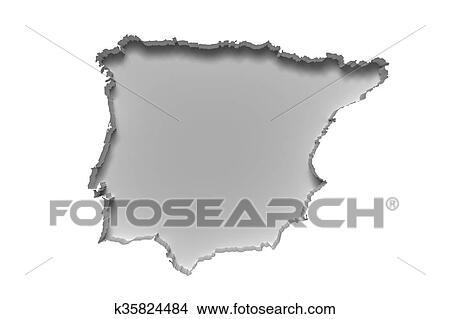 Iberian Peninsula map Stock Illustration