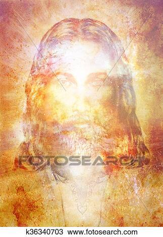 Jesus Cristo Quadro Com Radiante Coloridos Energia Luz Olho