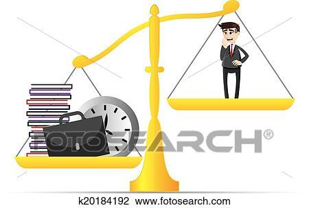Clipart dessin anim homme affaires et lot de travail sur balance quilibre k20184192 - Dessin de balance ...
