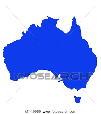 Outline Map Of Australia.Outline Map Of Australia And Tasmania Stock Illustration K1449969