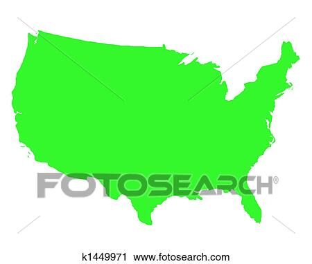 United States of America outline map Clip Art | k1449971 ...
