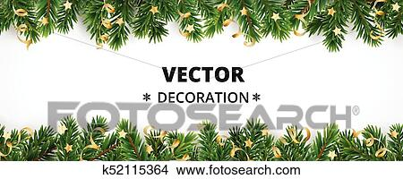 Christmas Header Clipart.Winter Holiday Background Border With Christmas Tree Branches And Ornaments Clipart