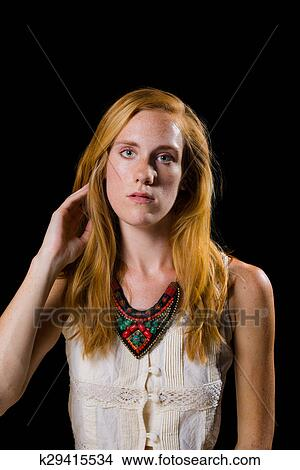 Stock Photo Of Attractive Strawberry Blonde Hair Blue Eyes Female