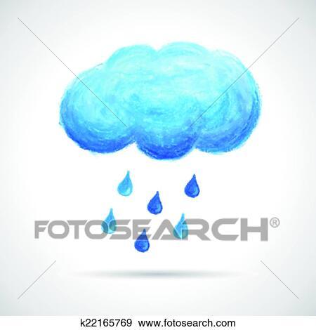 Bulut Ve Yagmur Damlar El Gergin Ile Pastel Boya Yagla