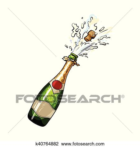 clipart of champagne bottle with cork popping out k40764882 search rh fotosearch com champagne bottle clip art free champagne bottle opening clipart