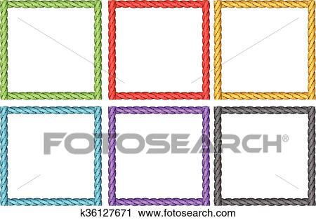 Clipart of Frame design in six colors k36127671 - Search Clip Art ...