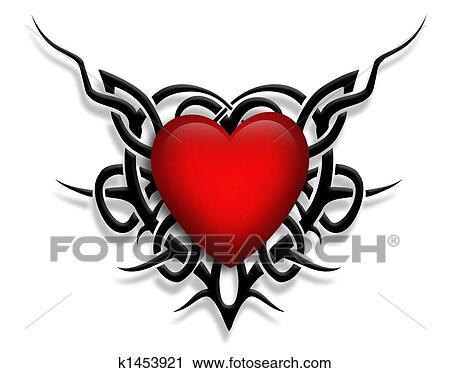 Clipart valentina cuore tatuaggio disegno k1453921 for Clipart cuore
