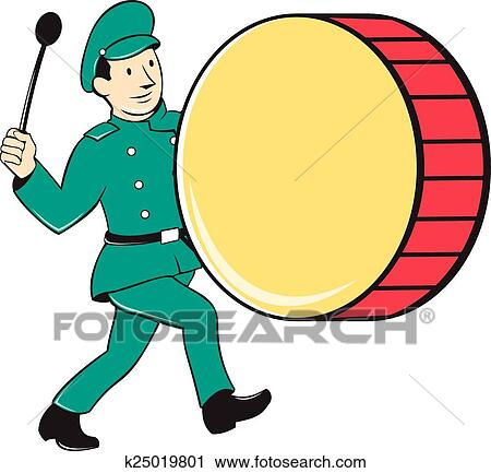 clipart of marching band drummer beating drum k25019801 search rh fotosearch com  marching band drum major clipart