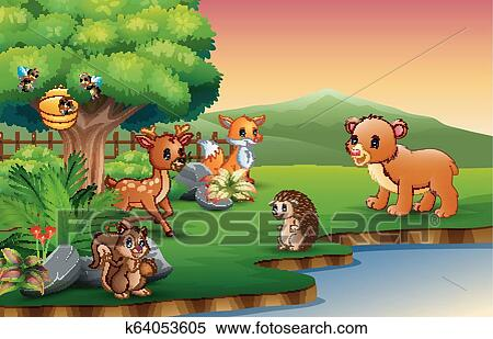 Animals cartoon are enjoying nature by the river.
