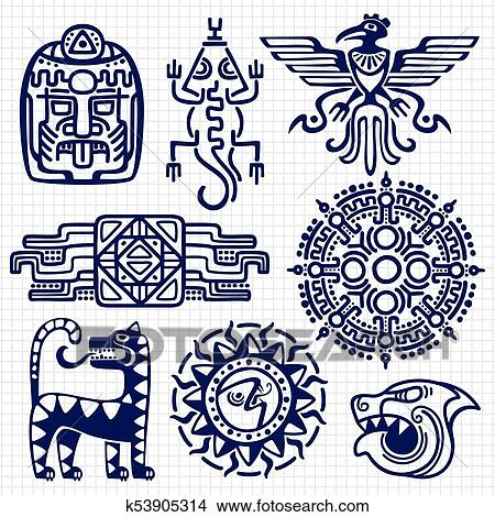 Clipart Of Ballpoint Pen American Aztec Mayan Culture Native Totems