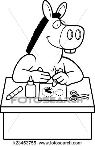 Clipart Of Cartoon Donkey Crafts K23453755